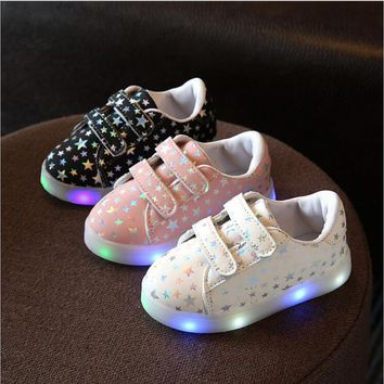 Toddler and Junior Double Strap Tennis Shoes With LED Lights