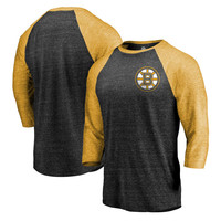 Boston Bruins Fanatics Branded Refresh Shift 3/4-Sleeve Raglan T-Shirt - Black/Gold