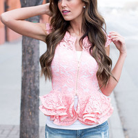 Pops of Peplum Lace Top Coral