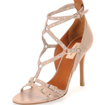 Valentino Love Latch Strappy Grommet Leather Sandal, Poudre