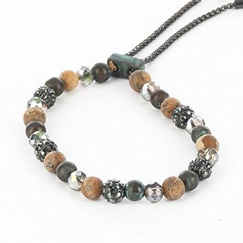 Natural Stone Bead Adjustable Chain Bracelet PTB115042PTNAT