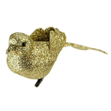 "6"" Bright Gold Clip-On Glittered Bird Christmas Ornament Decoration"
