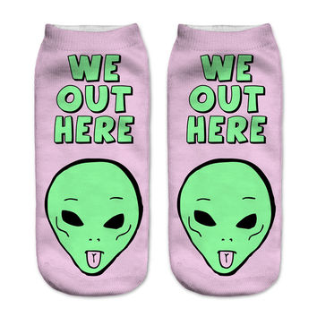 3D Alien WE OUT HERE  socks