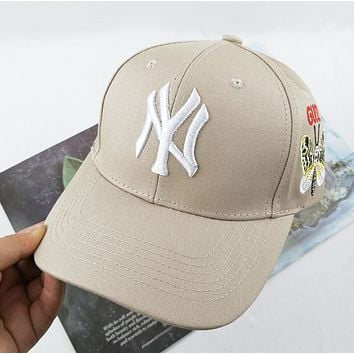 NY Fashion New Embroidery Letter Butterfly Sun Protection Women Men Cap Hat Khaki