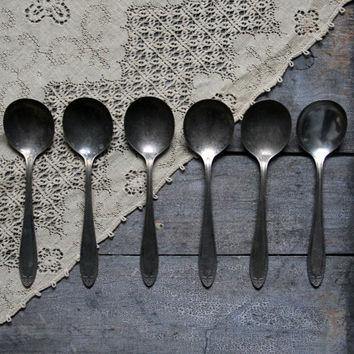 antique soup spoons, antique flatware, rustic silverware; utensils