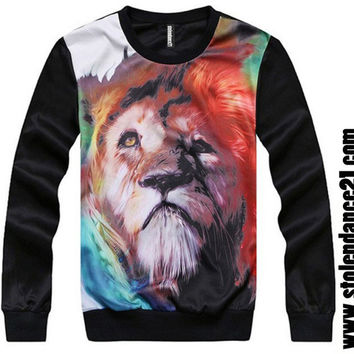 Men 3D Lion Face Crew Neck Top Sweatshirt code100071