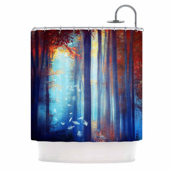 "Viviana Gonzalez ""Dreams In Blue"" Red Trees Shower Curtain"