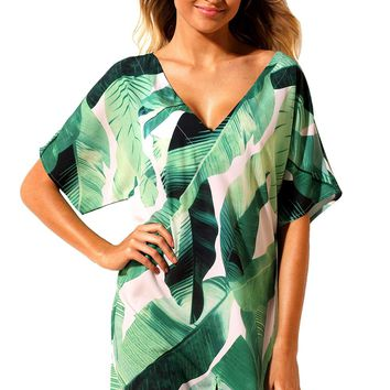 Summer Beach Dress 2018 Print Swimwear Cover Up Kaftan Women Beachwear Swim Wear Cover-Ups LC42259 Saidas De Praia