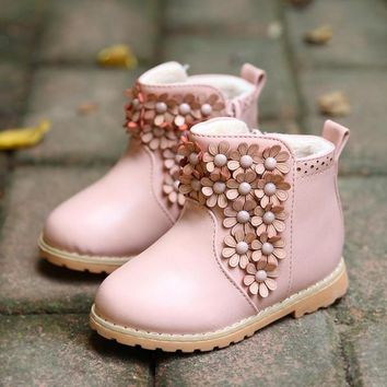 Winter Toddler Baby Boot Korean Flower Thicken Girl Pirncess Snow Boots Good Quality P