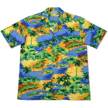 crocodile blue hawaiian cotton shirt