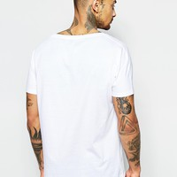 ASOS Longline T-Shirt With Scoop Back Hem In White