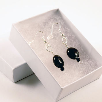 Black and Silver Oval Dangle Earrings