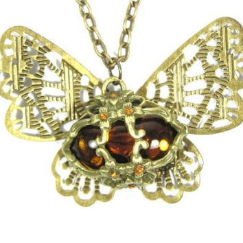 Butterfly Necklace Vintage Gold Tone Crystal NB19 Filigree Charm Antique Moth Pendant