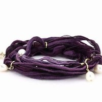 Ettika Purple Vintage Ribbon Wrap Bracelet with Pearl Pendant Necklace s: Jewelry: Amazon.com