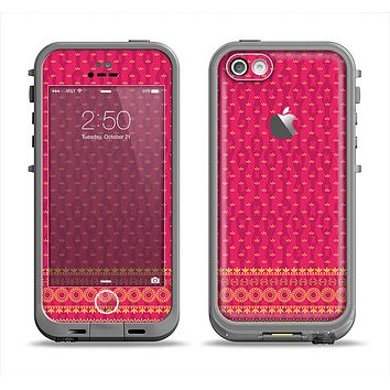 The Tall Pink & Orange Vintage Pattern Apple iPhone 5c LifeProof Fre Case Skin Set