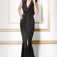 Ruffle Halter Evening Dress, Style 7751