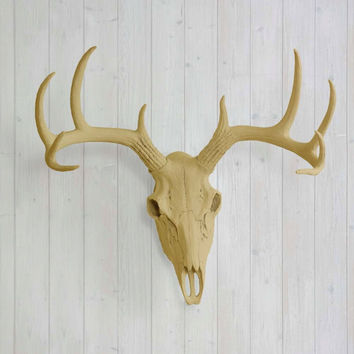 The Large Khaki Brown Faux Taxidermy Resin Deer Head Skull Wall Mount | Khaki Brown Deer Head w/ Colored Antlers