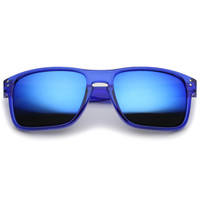 Translucent Colored Mirror Square Lens Horn Rimmed Sunglasses 57mm