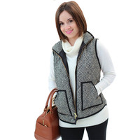 Exclusive Women Winter Vests Jacket Herringbone Quilted Puffer Vest Women Sleeveless Coat Warm Zipper Women Waistcoat Oversized