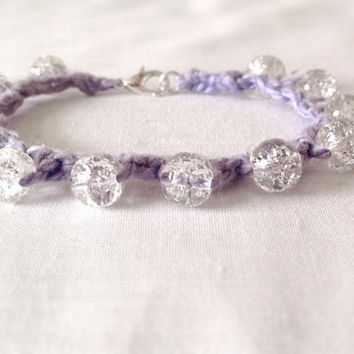 Cotton clear crackled glass beaded crocheted bracelet wedding anniversary gift custom made