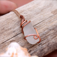 Sea Glass Necklace by Mermaid Tears, Hawaiian Jewelry from North Shore Oahu, Sea Glass Jewelry made in Hawaiii, Wire Wrapped Seaglass