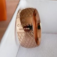 GUCCI New Popular Women Men Personality Simple Titanium Steel Checkered Letter Ring Golden I12555-1