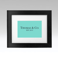 Tiffany & Co. Inspired Poster Art Print Tiffany's Blue Wedding Baby Anniversary Gift by Caramel Expressions