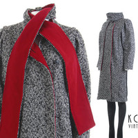 """Wool Coat Women 80s Clothing Coat with Scarf Combo Red Wool Speckled Tweed Oversized Jacket Vintage Clothing Women's Size SMALL/M 38"""" Bust"""
