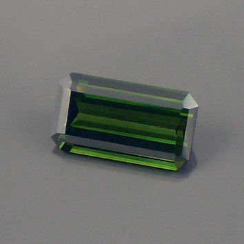 Tourmaline: 2.62ct Green Emerald Shape Gemstone, Natural Hand Made Faceted Gem, Loose Precious Mineral, Cut AAA Crystal Jewelry Supply 20195