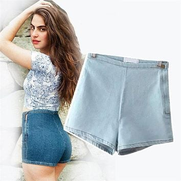 2017 High Waisted Denim Shorts For Women Candy Color Short Jeans Ladies Slim Summer Casual Trousers Jeans Female