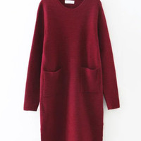 Long Sleeve Pockets Knitdress