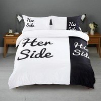 Funny Couple  Her Side&His Side  Bed Linen High Quality 3Pcs Bedding Set Duvet Cover&Pillowcase (without Bed Sheet)