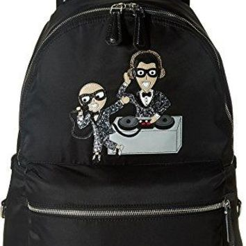 Dolce & Gabbana Mens Nylon Embroidered Backpack