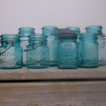9 Ball Blue Mason Jars, Pint & Quart, Amazon Swift Seal, Perfect Ideal, 1920s