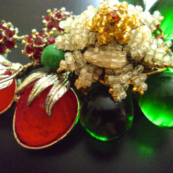 STANLEY HAGLER Red Green Glass Berries Brooch, Rhinestones, Pearl Glass Seeds, Signed Vintage