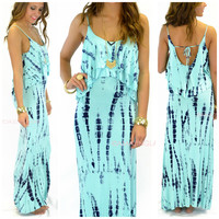 Shorebreak Aqua Tie Dye Tank Maxi Dress