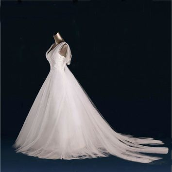 Tulle Wedding Dresses Beads V neck Gowns Robe