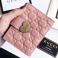 GUCCI Fashion New More Letter Leather Wallet Purse Women Pink
