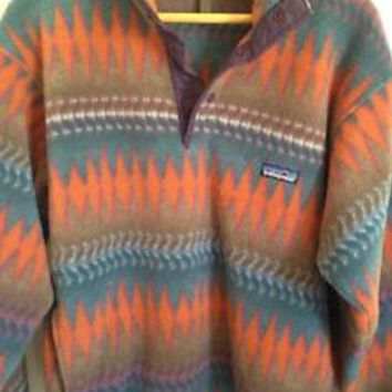 Vintage Patagonia Size Small Aztec Tribal Pullover Fleece Jacket Rare Synchilla