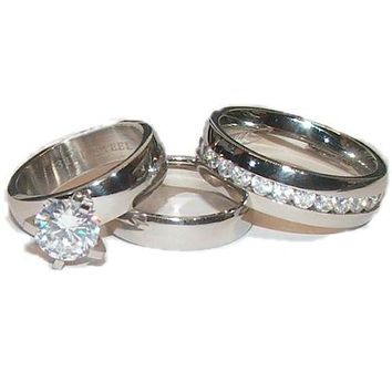 His Her Wedding Ring Set Stainless Steel Wedding Rings Couples Rings