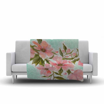 "Christen Treat ""Chieko"" Pink Mint Fleece Throw Blanket"