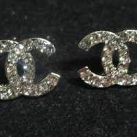Double C Rhinestone Initial Earrings Silver Stud Bridal Womens Hypoallergenic by CC Diamond of New Orleans Free Shipping
