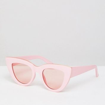 ASOS Flat Top Cat Eye Fashion Sunglasses In Pink With Pink Lens at asos.com