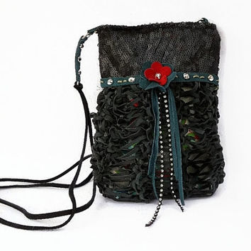 Black sequin leather purse, black leather cross body bag purse, red leather flower pouch