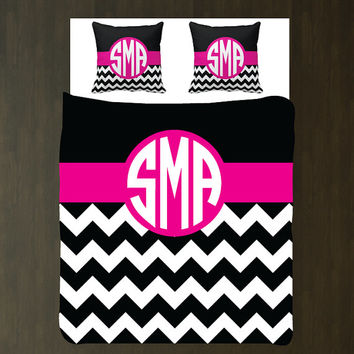 Custom Chevron Woven Duvet Bedding Set with Euro Shams-Personalized-Circle Monogram-Hot Pink-Black-White OR ANY COLORS-Twin-Full/Queen-King