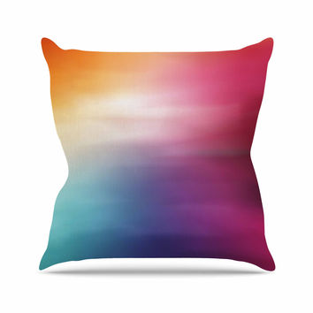 "Chelsea Victoria ""Color Rush"" Multicolor Love Outdoor Throw Pillow"