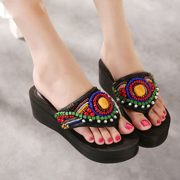 Ethnic Style Summer Beach Women's Slippers Bohemia String Beaded Leather Sandals Woman Platform Flip Flops Slippers Women 34-40