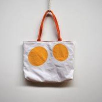 Recycled Sail Purse Yellow Polka Dot by reiter8 on Etsy