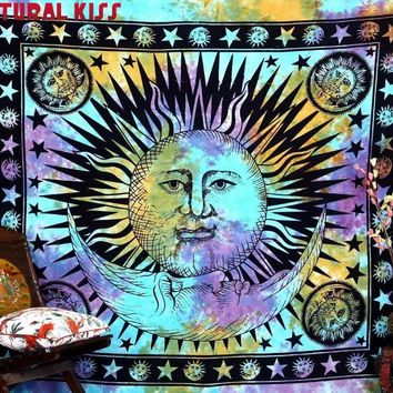 Natural Kiss Retro Tapestry Psychedelic Celestial Indian Sun Totem Tapestry Wall Hanging Throw Bohemian Door Curtain 145cmx165cm