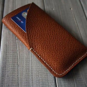Top Leather iphone 6 plus case Sleeve, Personalized iphone 5 sleeves, Credit card Case - CPS hand punched and stitched